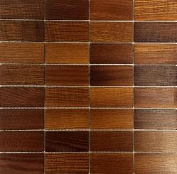 Holz Mosaikfliesen Dunkel 8x4 Frontansicht